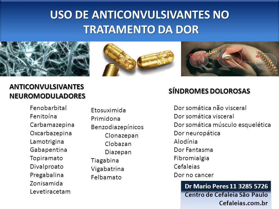 USO DE ANTICONVULSIVANTES NO TRATAMENTO DA DOR TRATAMENTO DA DOR USO DE ANTICONVULSIVANTES NO TRATAMENTO DA DOR TRATAMENTO DA DOR ANTICONVULSIVANTESNEUROMODULADORES SÍNDROMES DOLOROSAS Dor somática não visceral Dor somática visceral Dor somática músculo esquelética Dor neuropática Alodínia Dor Fantasma Fibromialgia Cefaleias -Enxaqueca Dor no cancer Fenobarbital Fenitoína Carbamazepina Oxcarbazepina Lamotrigina Gabapentina Topiramato Divalproato Pregabalina Zonisamida Levetiracetam Etosuximida Primidona Benzodiazepínicos Clonazepan Clobazan Diazepan Tiagabina Vigabatrina Felbamato Dr Mario Peres 11 3285 5726 Centro de Cefaleia São Paulo Cefaleias.com.br Dr Mario Peres 11 3285 5726 Centro de Cefaleia São Paulo Cefaleias.com.br