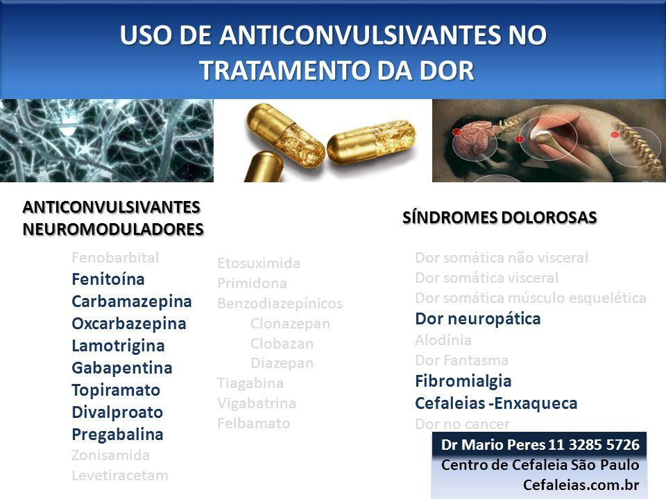 USO DE ANTICONVULSIVANTES NO TRATAMENTO DA DOR TRATAMENTO DA DOR USO DE ANTICONVULSIVANTES NO TRATAMENTO DA DOR TRATAMENTO DA DOR FIBROMIALGIA – Gabapentina - Pregabalina Gabapentin and pregabalin reduce pain and sleep disturbances (300, 450, 600 mg), but not other key symptoms such as fatigue, depressed mood, and anxiety in FM.
