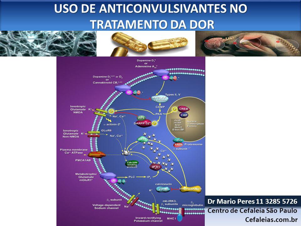 USO DE ANTICONVULSIVANTES NO TRATAMENTO DA DOR TRATAMENTO DA DOR USO DE ANTICONVULSIVANTES NO TRATAMENTO DA DOR TRATAMENTO DA DOR INTERAÇÕES Carbamazepina, Oxcarbazepina - induzem o CYP3A4 e cuidado com cetoconazol, fluconazol, diltiazem, eritromicina Fenitoína - CYP2C9 2C19 ticlopidina, fluoxetina, fluconazol, valproato, topiramato Gabapentina, Pregabalina e Lamotrigina Menos problemas.