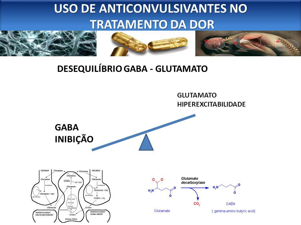 DESEQUILÍBRIO GABA - GLUTAMATO GABA INIBIÇÃO USO DE ANTICONVULSIVANTES NO TRATAMENTO DA DOR TRATAMENTO DA DOR USO DE ANTICONVULSIVANTES NO TRATAMENTO