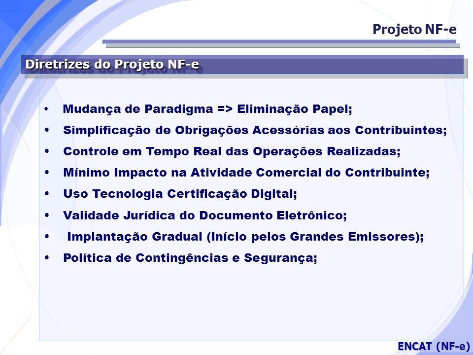 Secretaria da Fazenda ENCAT (NF-e) Diretrizes do Projeto NF-e Mudança de Paradigma => Eliminação Papel; Simplificação de Obrigações Acessórias aos Con