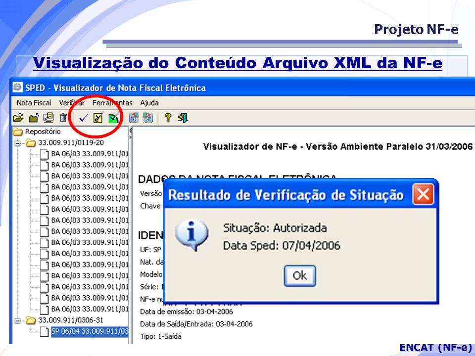 Secretaria da Fazenda ENCAT (NF-e) Projeto NF-e Visualização do Conteúdo Arquivo XML da NF-e