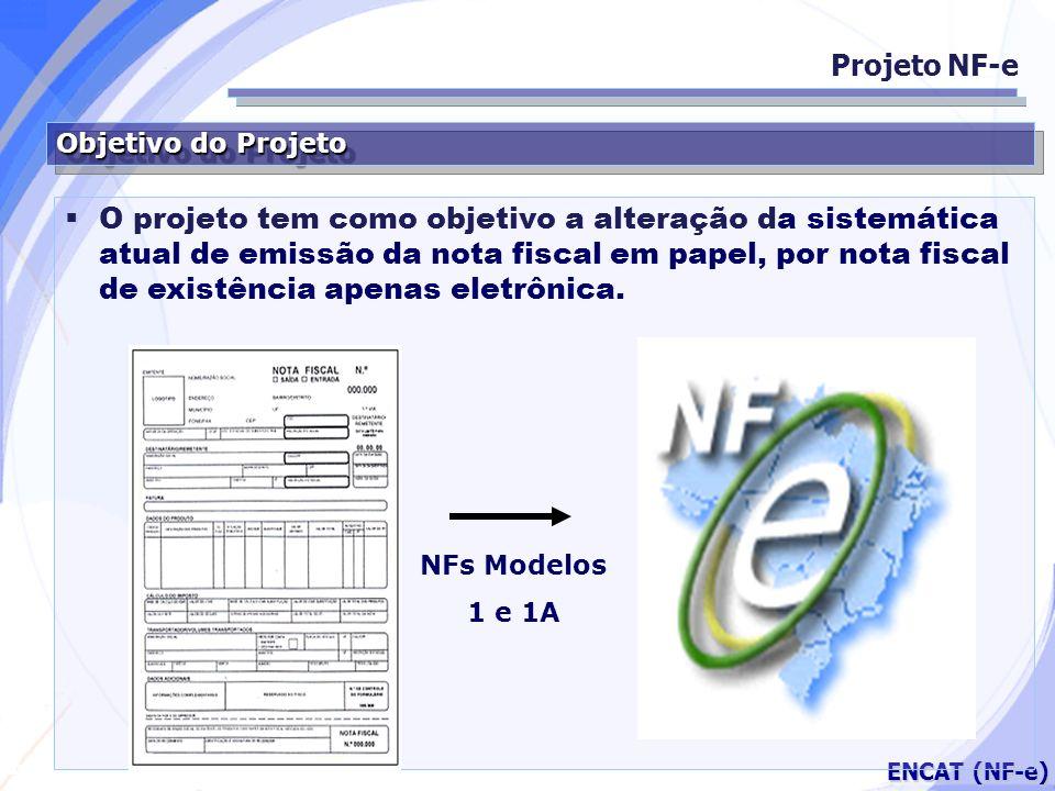 Secretaria da Fazenda ENCAT (NF-e) Objetivo do Projeto Projeto NF-e O projeto tem como objetivo a alteração da sistemática atual de emissão da nota fi