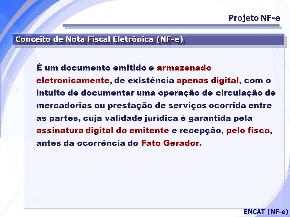 Secretaria da Fazenda ENCAT (NF-e) Respaldo Jurídico Projeto NF-e MP 2.200/01 (Artigo 10 – Parágrafo 1º.) As declarações constantes dos documentos em forma eletrônica produzidos com a utilização de processo de certificação disponibilizada pela Infra-estrutura de Chaves Públicas Brasileira (ICP-Brasil), presumem-se verdadeiros em relação aos signatários