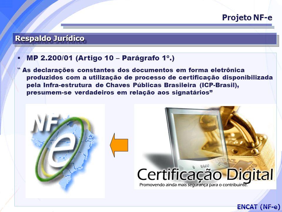Secretaria da Fazenda ENCAT (NF-e) Respaldo Jurídico Projeto NF-e MP 2.200/01 (Artigo 10 – Parágrafo 1º.) As declarações constantes dos documentos em