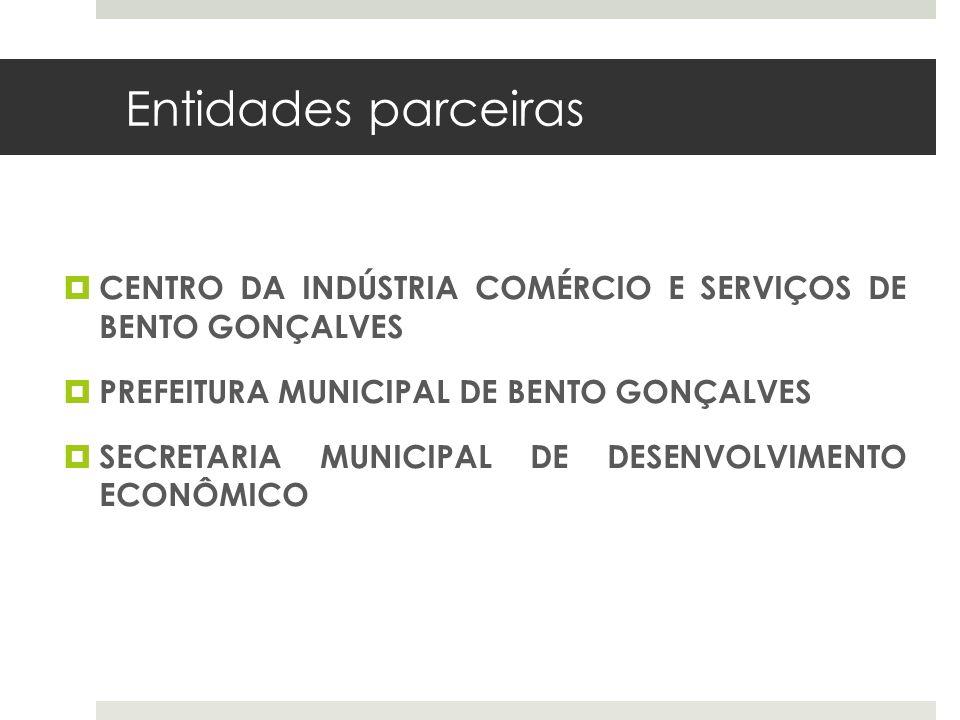 Entidades parceiras CENTRO DA INDÚSTRIA COMÉRCIO E SERVIÇOS DE BENTO GONÇALVES PREFEITURA MUNICIPAL DE BENTO GONÇALVES SECRETARIA MUNICIPAL DE DESENVO