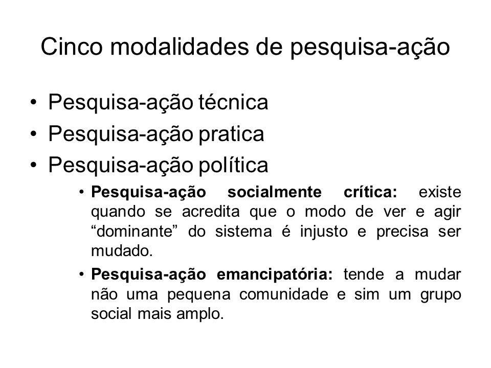 Cinco modalidades de pesquisa-ação Pesquisa-ação técnica Pesquisa-ação pratica Pesquisa-ação política Pesquisa-ação socialmente crítica: existe quando