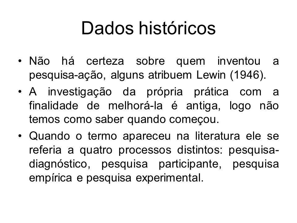 Dados históricos Não há certeza sobre quem inventou a pesquisa-ação, alguns atribuem Lewin (1946). A investigação da própria prática com a finalidade