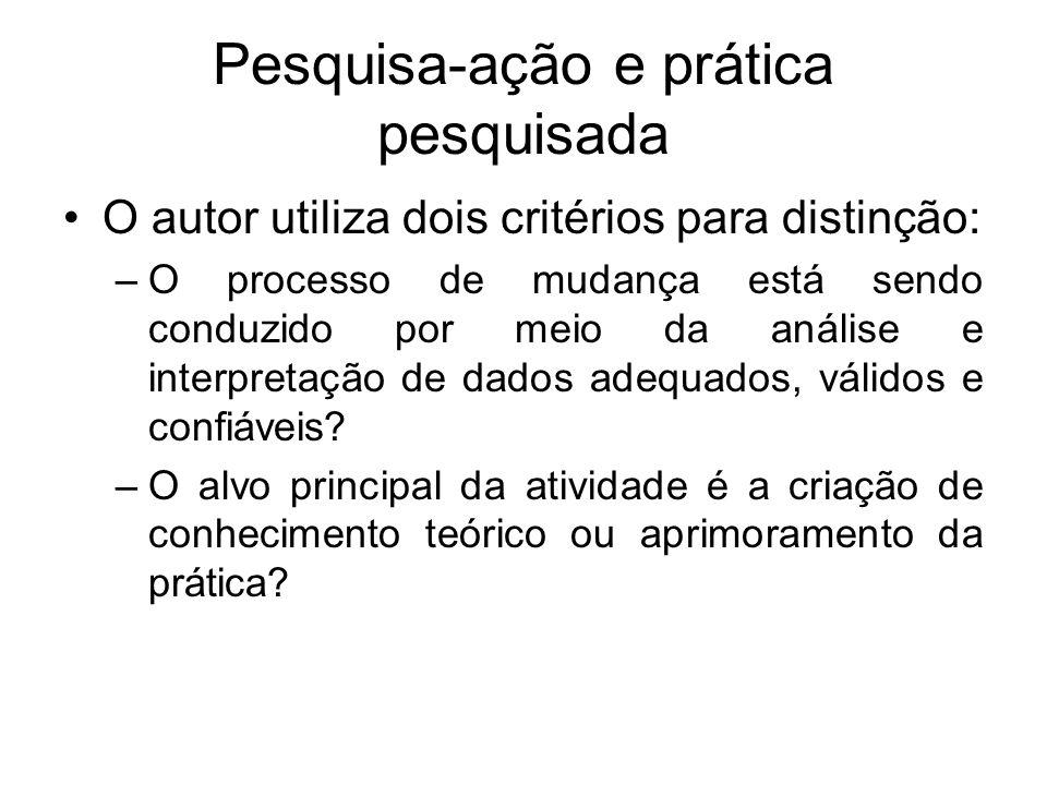 Pesquisa-ação e prática pesquisada O autor utiliza dois critérios para distinção: –O processo de mudança está sendo conduzido por meio da análise e in