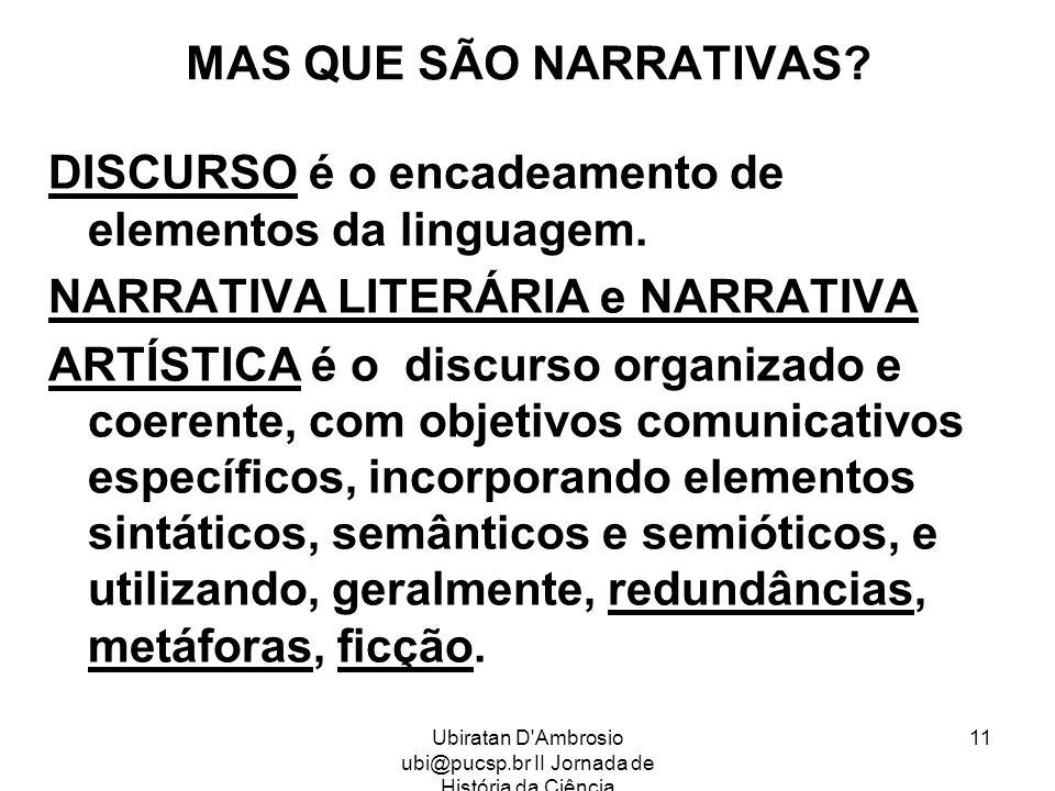 Ubiratan D'Ambrosio ubi@pucsp.br II Jornada de História da Ciência 11 MAS QUE SÃO NARRATIVAS? DISCURSO é o encadeamento de elementos da linguagem. NAR