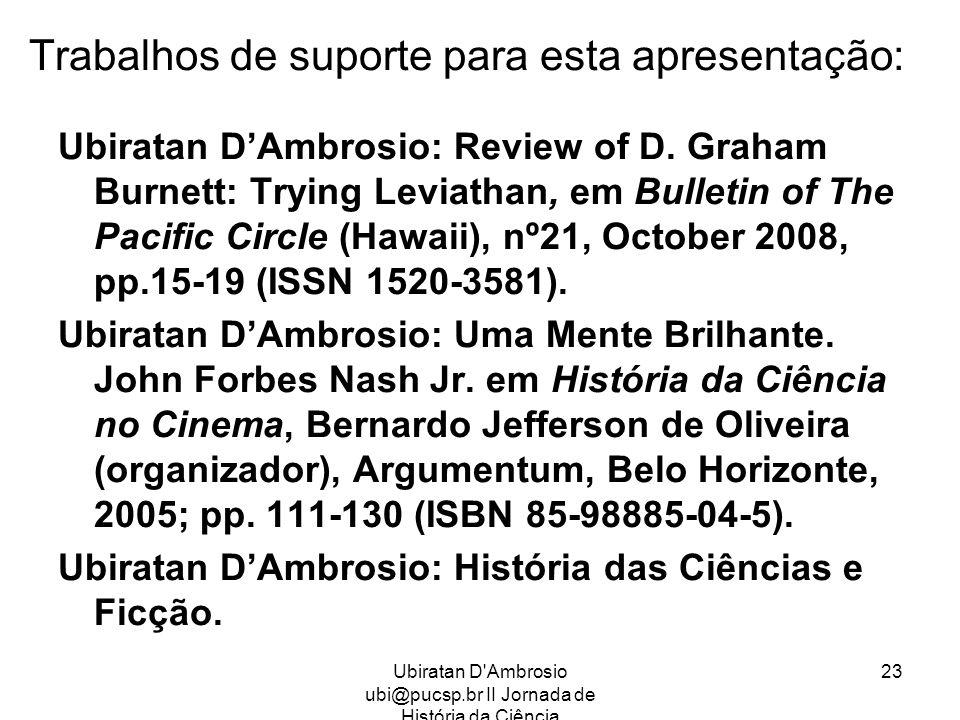 Ubiratan D'Ambrosio ubi@pucsp.br II Jornada de História da Ciência 23 Trabalhos de suporte para esta apresentação: Ubiratan DAmbrosio: Review of D. Gr