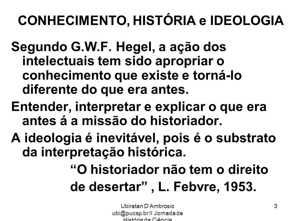 Ubiratan D'Ambrosio ubi@pucsp.br II Jornada de História da Ciência 3 CONHECIMENTO, HISTÓRIA e IDEOLOGIA Segundo G.W.F. Hegel, a ação dos intelectuais