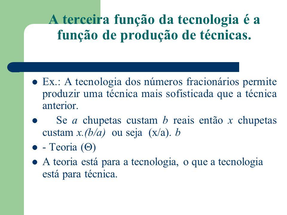 A terceira função da tecnologia é a função de produção de técnicas. Ex.: A tecnologia dos números fracionários permite produzir uma técnica mais sofis