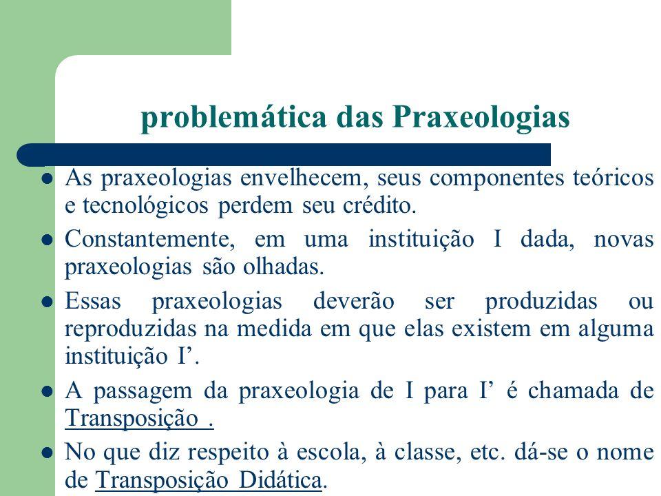 problemática das Praxeologias As praxeologias envelhecem, seus componentes teóricos e tecnológicos perdem seu crédito. Constantemente, em uma institui