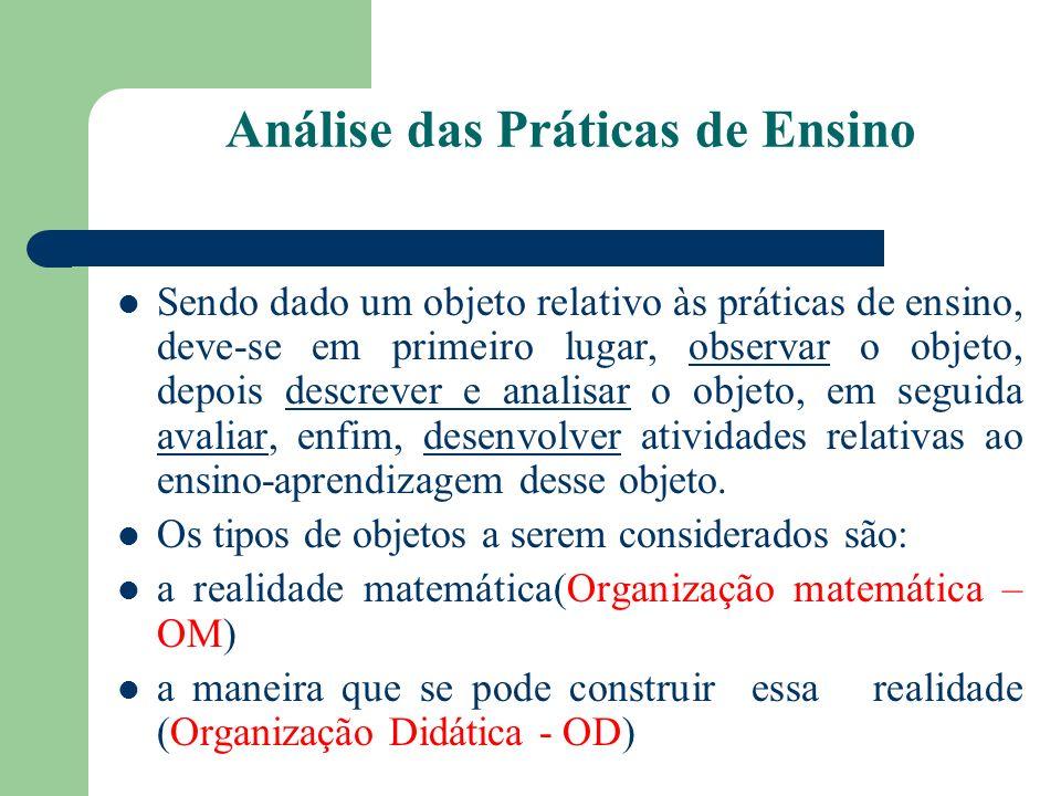 Análise das Práticas de Ensino Sendo dado um objeto relativo às práticas de ensino, deve-se em primeiro lugar, observar o objeto, depois descrever e a