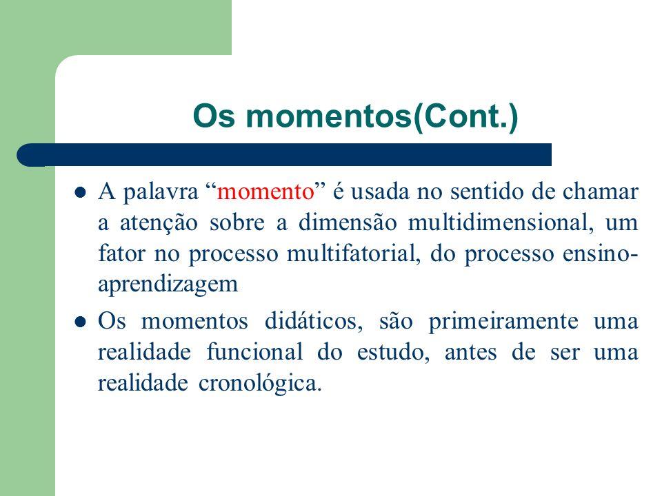 Os momentos(Cont.) A palavra momento é usada no sentido de chamar a atenção sobre a dimensão multidimensional, um fator no processo multifatorial, do