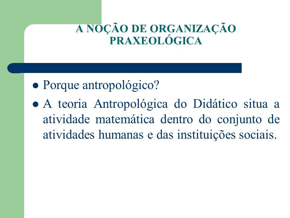 A NOÇÃO DE ORGANIZAÇÃO PRAXEOLÓGICA Porque antropológico? A teoria Antropológica do Didático situa a atividade matemática dentro do conjunto de ativid