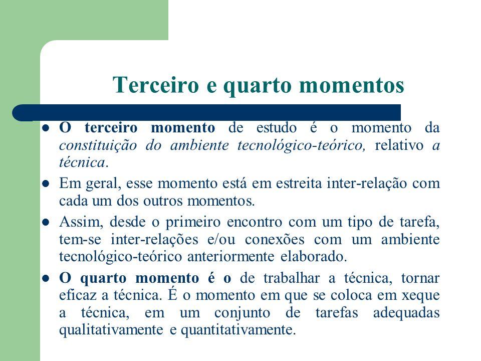 Terceiro e quarto momentos O terceiro momento de estudo é o momento da constituição do ambiente tecnológico-teórico, relativo a técnica. Em geral, ess