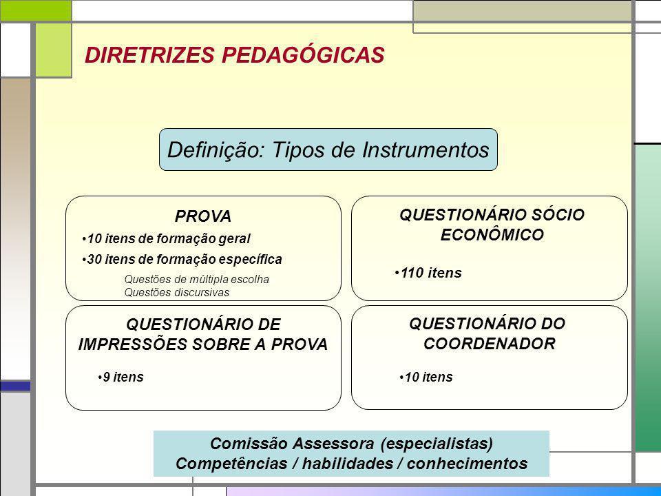 DIRETRIZES PEDAGÓGICAS Definição: Tipos de Instrumentos Comissão Assessora (especialistas) Competências / habilidades / conhecimentos 10 itens de form