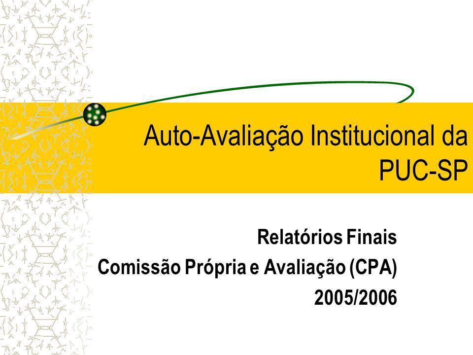 Auto-Avaliação Institucional da PUC-SP Relatórios Finais Comissão Própria e Avaliação (CPA) 2005/2006