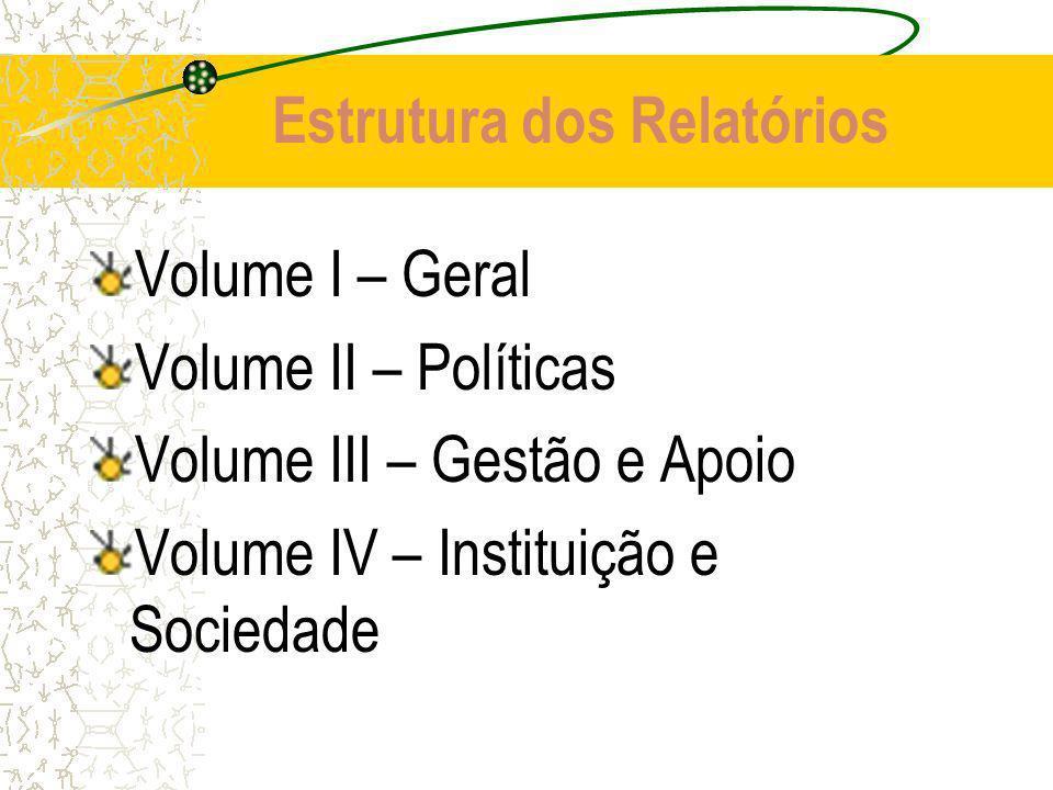 Estrutura dos Relatórios Volume I – Geral Volume II – Políticas Volume III – Gestão e Apoio Volume IV – Instituição e Sociedade
