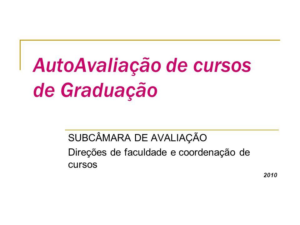AutoAvaliação de cursos de Graduação SUBCÂMARA DE AVALIAÇÃO Direções de faculdade e coordenação de cursos 2010