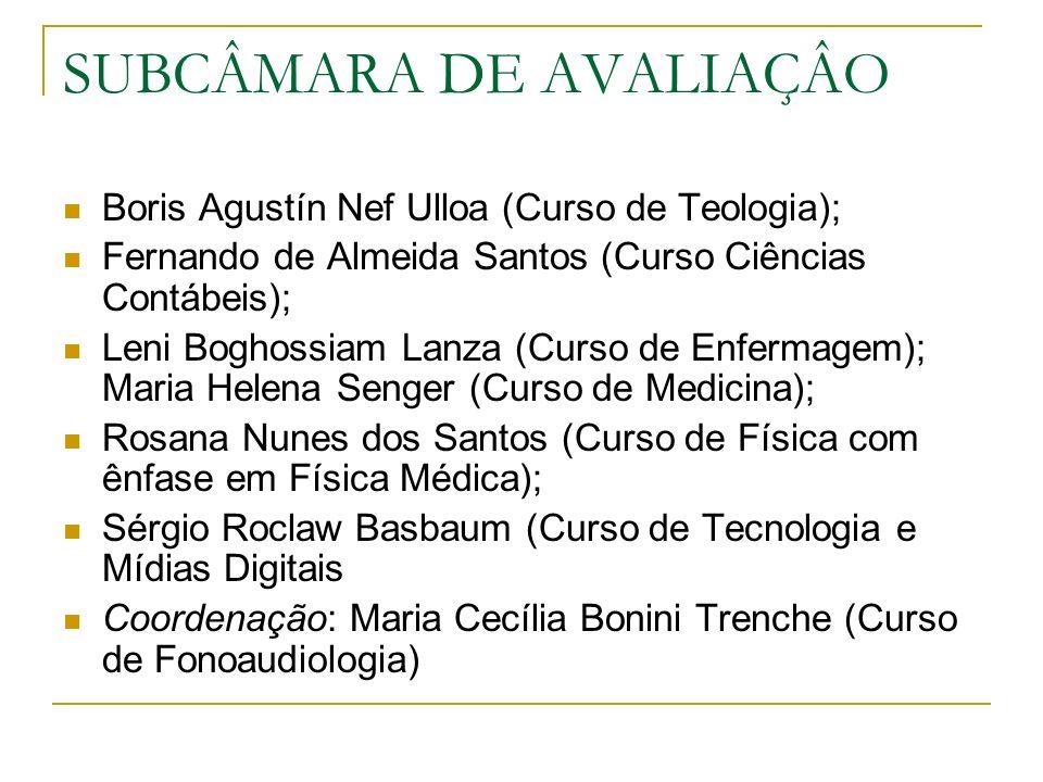 SUBCÂMARA DE AVALIAÇÂO Boris Agustín Nef Ulloa (Curso de Teologia); Fernando de Almeida Santos (Curso Ciências Contábeis); Leni Boghossiam Lanza (Curso de Enfermagem); Maria Helena Senger (Curso de Medicina); Rosana Nunes dos Santos (Curso de Física com ênfase em Física Médica); Sérgio Roclaw Basbaum (Curso de Tecnologia e Mídias Digitais Coordenação: Maria Cecília Bonini Trenche (Curso de Fonoaudiologia)