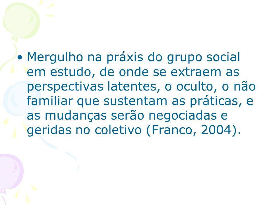 Mergulho na práxis do grupo social em estudo, de onde se extraem as perspectivas latentes, o oculto, o não familiar que sustentam as práticas, e as mudanças serão negociadas e geridas no coletivo (Franco, 2004).