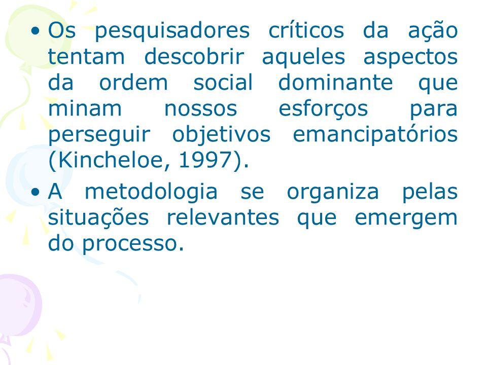 Os pesquisadores críticos da ação tentam descobrir aqueles aspectos da ordem social dominante que minam nossos esforços para perseguir objetivos emancipatórios (Kincheloe, 1997).