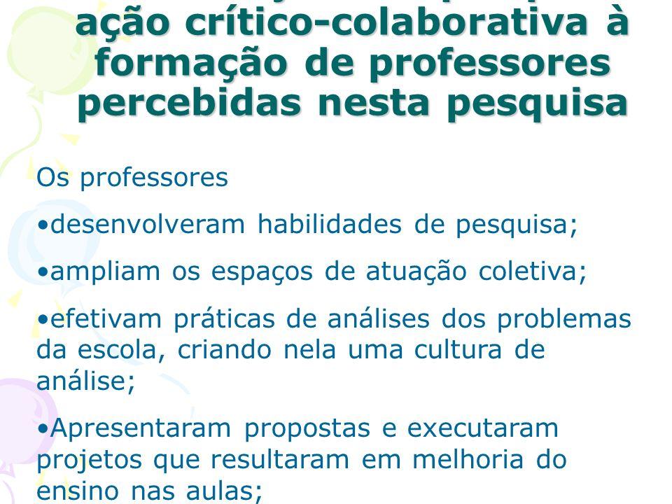 Contribuições da pesquisa- ação crítico-colaborativa à formação de professores percebidas nesta pesquisa Contribuições da pesquisa- ação crítico-colab