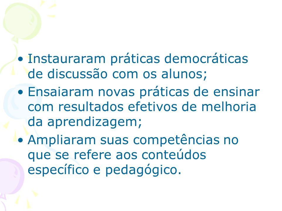 Instauraram práticas democráticas de discussão com os alunos; Ensaiaram novas práticas de ensinar com resultados efetivos de melhoria da aprendizagem; Ampliaram suas competências no que se refere aos conteúdos específico e pedagógico.