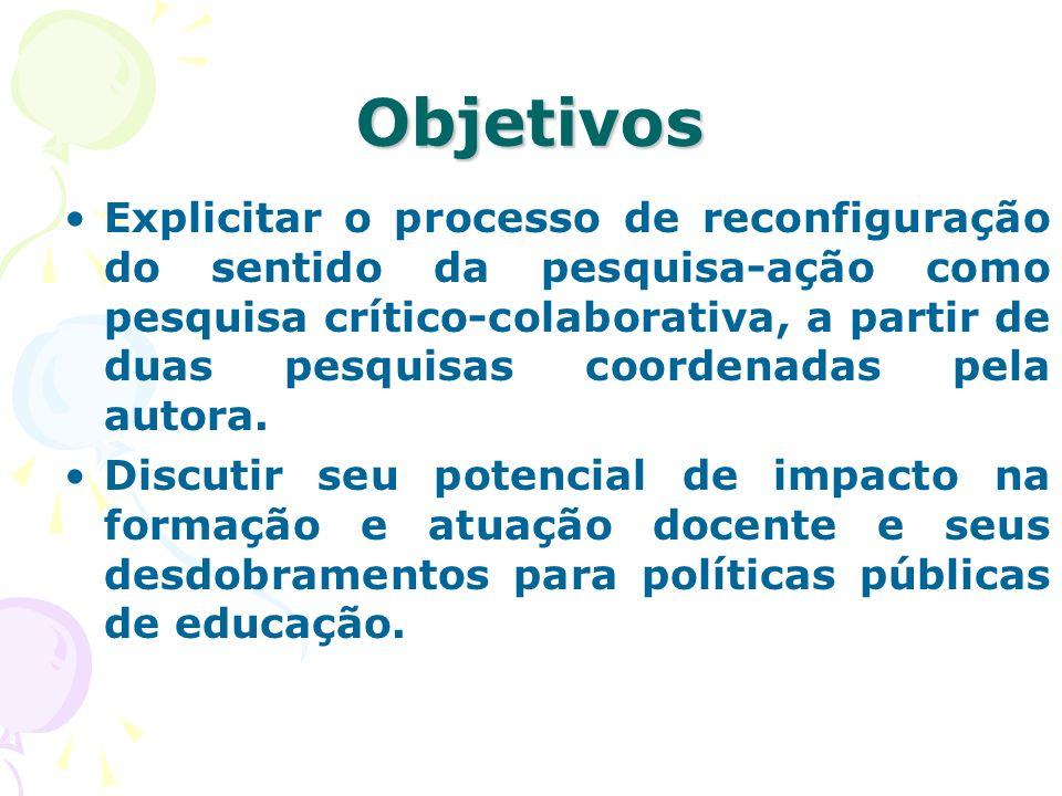 Objetivos Explicitar o processo de reconfiguração do sentido da pesquisa-ação como pesquisa crítico-colaborativa, a partir de duas pesquisas coordenadas pela autora.