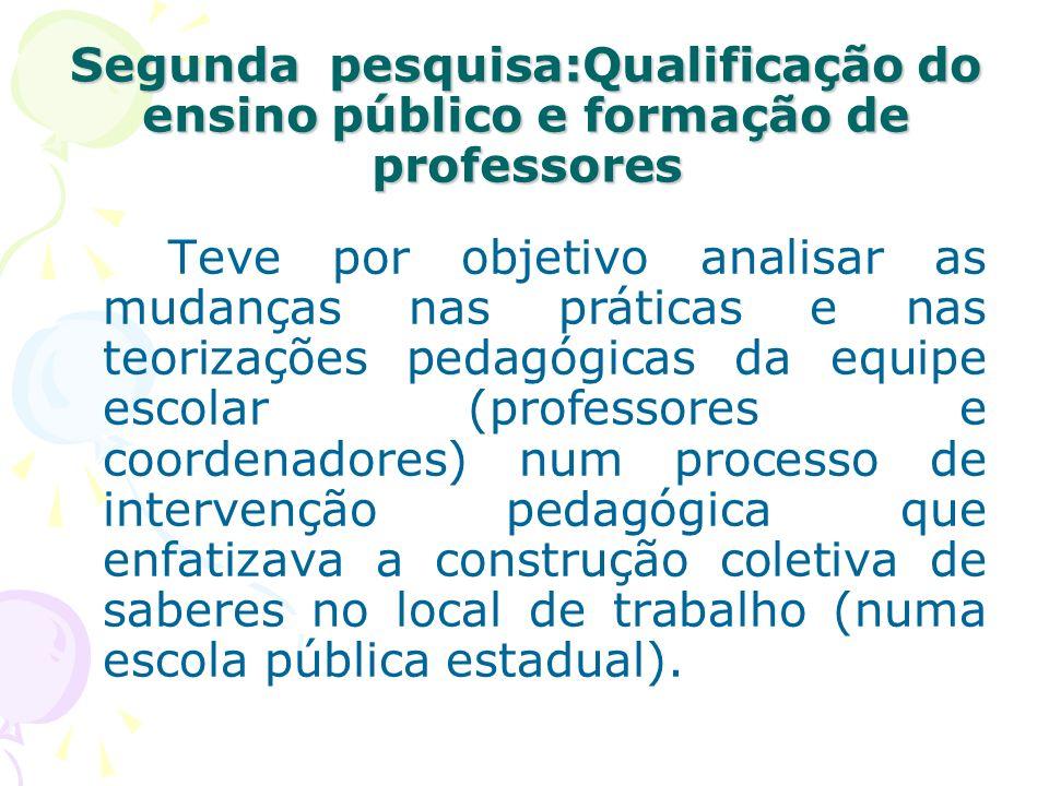 Segunda pesquisa:Qualificação do ensino público e formação de professores Teve por objetivo analisar as mudanças nas práticas e nas teorizações pedagó