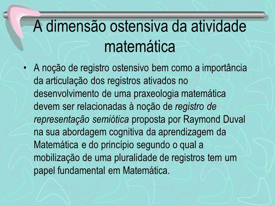 A dimensão ostensiva da atividade matemática A noção de registro ostensivo bem como a importância da articulação dos registros ativados no desenvolvim