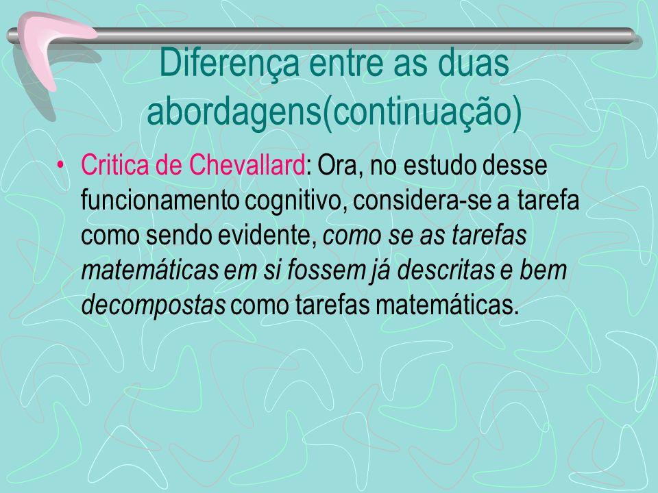 Diferença entre as duas abordagens(continuação) Critica de Chevallard: Ora, no estudo desse funcionamento cognitivo, considera-se a tarefa como sendo