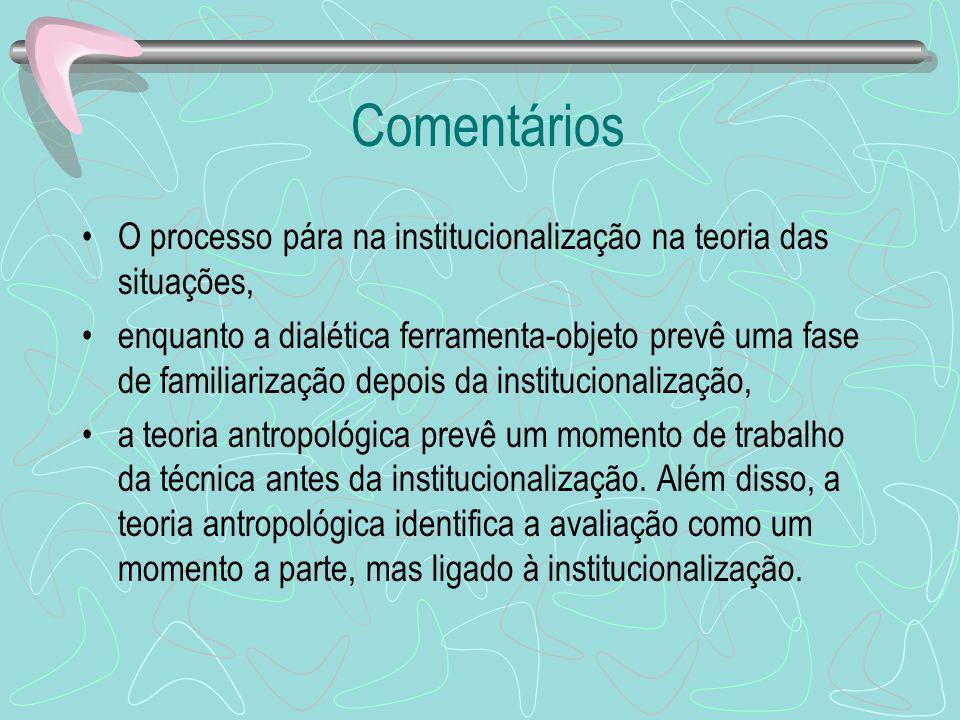 Comentários O processo pára na institucionalização na teoria das situações, enquanto a dialética ferramenta-objeto prevê uma fase de familiarização de