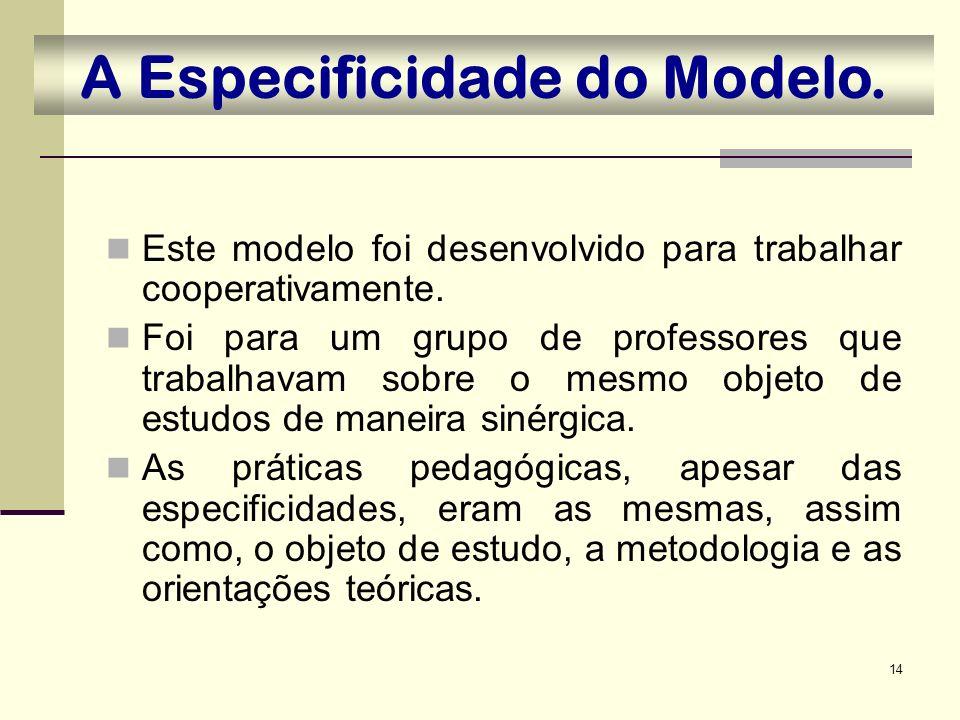 14 A Especificidade do Modelo. Este modelo foi desenvolvido para trabalhar cooperativamente. Foi para um grupo de professores que trabalhavam sobre o