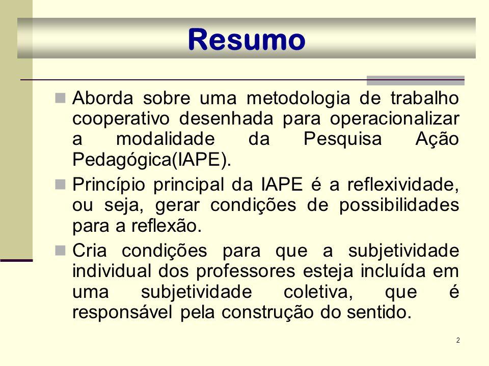 2 Resumo Aborda sobre uma metodologia de trabalho cooperativo desenhada para operacionalizar a modalidade da Pesquisa Ação Pedagógica(IAPE). Princípio