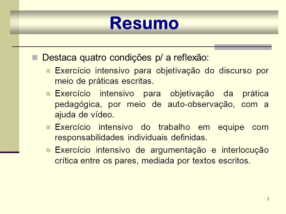 3 Resumo Destaca quatro condições p/ a reflexão: Exercício intensivo para objetivação do discurso por meio de práticas escritas. Exercício intensivo p