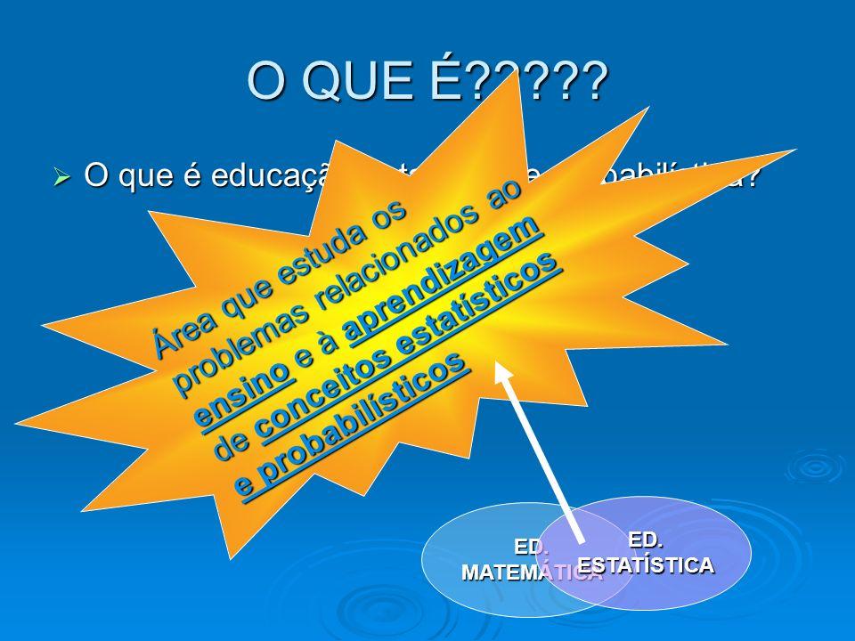 O QUE É????? O que é educação estatística e probabilística? O que é educação estatística e probabilística? Área que estuda os problemas relacionados a