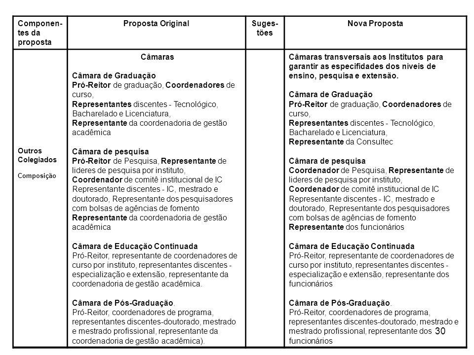 30 Componen- tes da proposta Proposta OriginalSuges- tões Nova Proposta Outros Colegiados Composição Câmaras Câmara de Graduação Pró-Reitor de graduaç