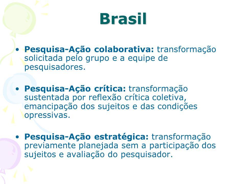 Brasil Pesquisa-Ação colaborativa: transformação solicitada pelo grupo e a equipe de pesquisadores. Pesquisa-Ação crítica: transformação sustentada po