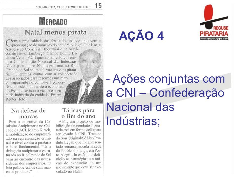 - Ações conjuntas com a CNI – Confederação Nacional das Indústrias; AÇÃO 4