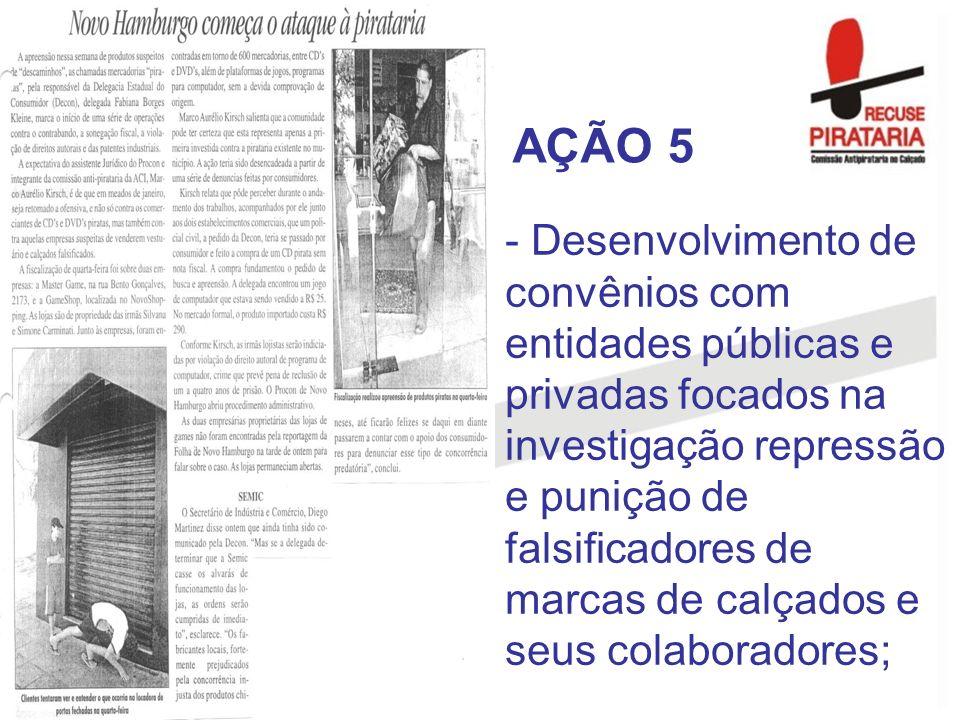- Desenvolvimento de convênios com entidades públicas e privadas focados na investigação repressão e punição de falsificadores de marcas de calçados e