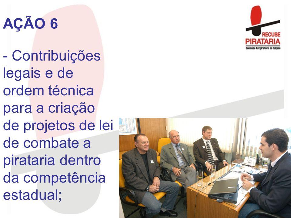 - Contribuições legais e de ordem técnica para a criação de projetos de lei de combate a pirataria dentro da competência estadual; AÇÃO 6