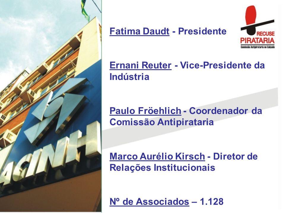 Fatima Daudt - Presidente Ernani Reuter - Vice-Presidente da Indústria Paulo Fröehlich - Coordenador da Comissão Antipirataria Marco Aurélio Kirsch -