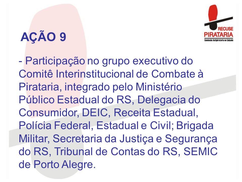 - Participação no grupo executivo do Comitê Interinstitucional de Combate à Pirataria, integrado pelo Ministério Público Estadual do RS, Delegacia do