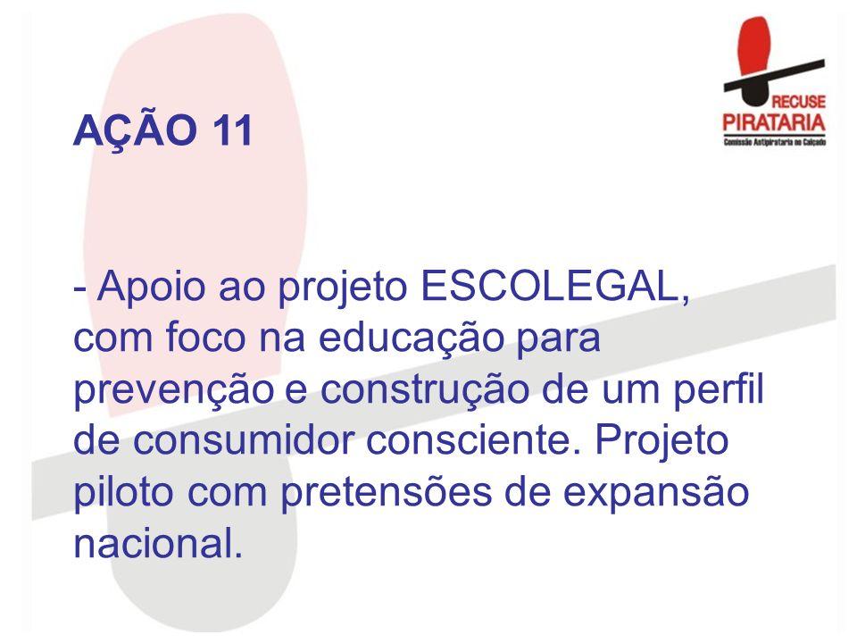 - Apoio ao projeto ESCOLEGAL, com foco na educação para prevenção e construção de um perfil de consumidor consciente. Projeto piloto com pretensões de