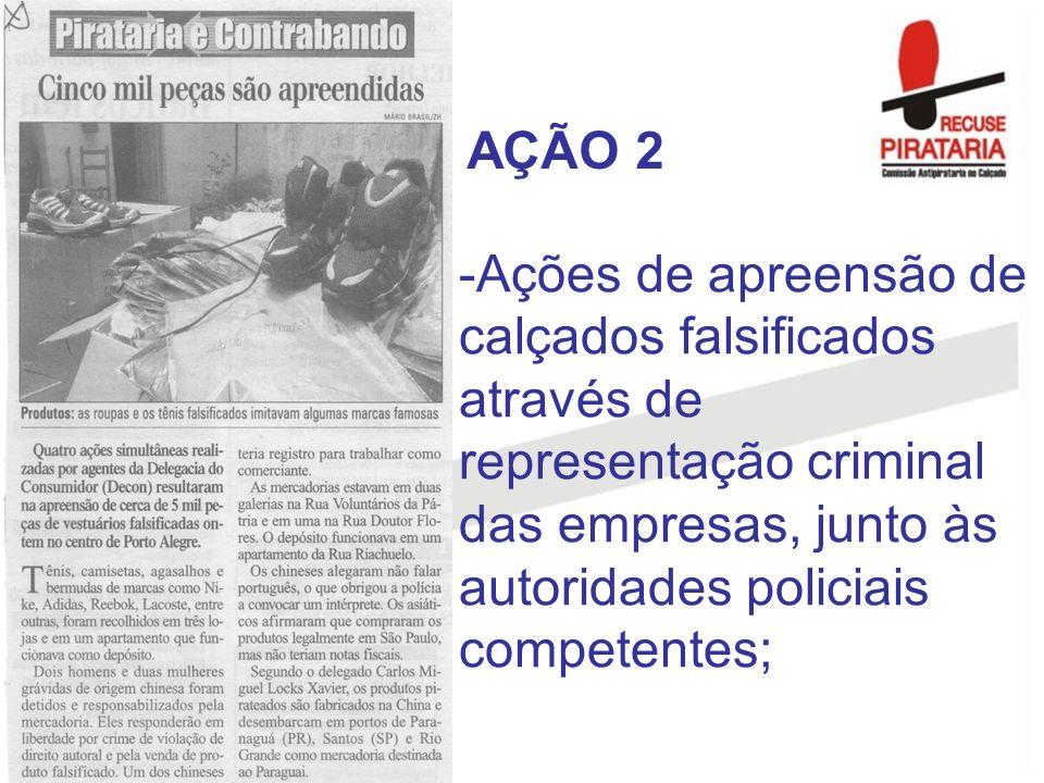 -Ações de apreensão de calçados falsificados através de representação criminal das empresas, junto às autoridades policiais competentes; AÇÃO 2