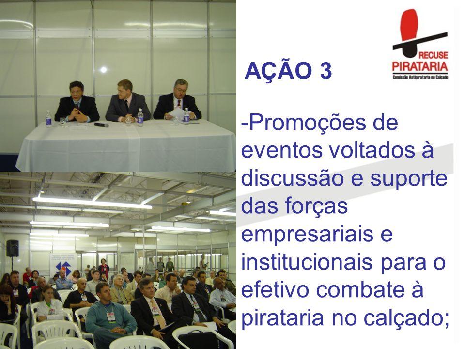 -Promoções de eventos voltados à discussão e suporte das forças empresariais e institucionais para o efetivo combate à pirataria no calçado; AÇÃO 3